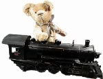 Ted with a BuddyL locomotive. They are both from the same era.