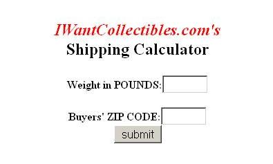 Your eBay Shipping Calculator will look like this